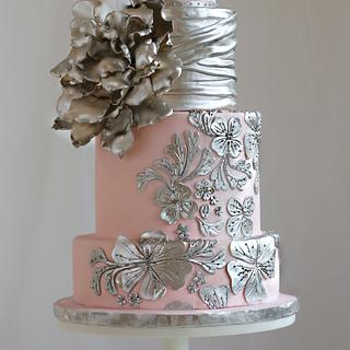 Blush and silver Romantic Wedding Cake