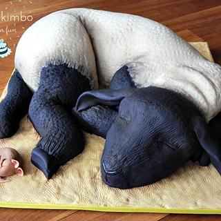 SLEEPY LAMB AND MOUSE - Cake by Andy Cat