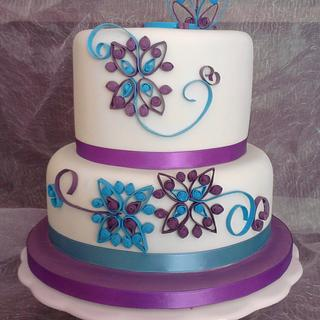 Cake with Quilled Design - Cake by VictoriaLouiseCakes