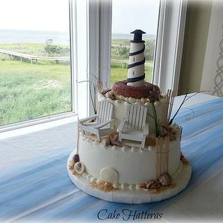 Cape Hatteras Lighthouse Wedding Cake - Cake by Donna Tokazowski- Cake Hatteras, Hatteras N.C.