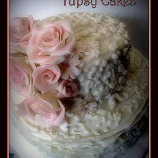 peach ruffles and  roses   - Cake by tupsy cakes