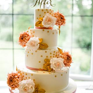 Roses,peonies and gold sequins wedding cake