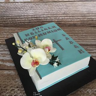 first communion cake book orchids - Cake by ButterflyCakes