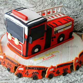 Firetruck Cake with matching sugar cookies