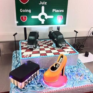 21st Cake with lights and revolving figurines