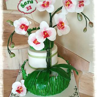White Orchids Cake