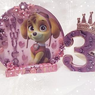"""Skye"" Paw Patrol 3rd birthday cake topper"