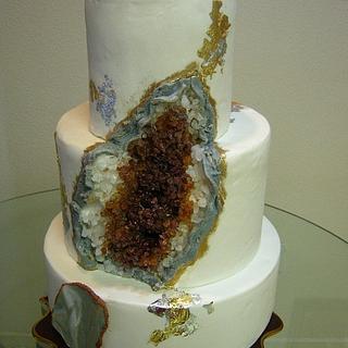 Amber Agate Geode Cake