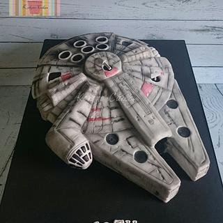 Light up Millennium falcon  - Cake by Kokoro Cakes by Kyoko Grussu