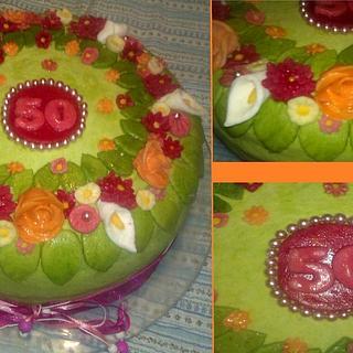 Flower 50th cake