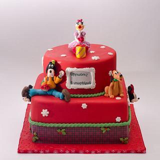 daisy duck, Pluto and Goofy cake