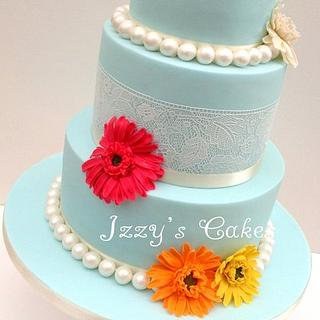Duck-egg blue, gerberas and Sugarveil wedding cake!