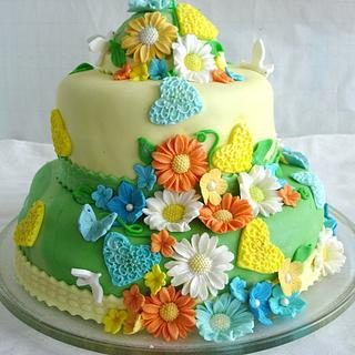 cake with flowers and hearts