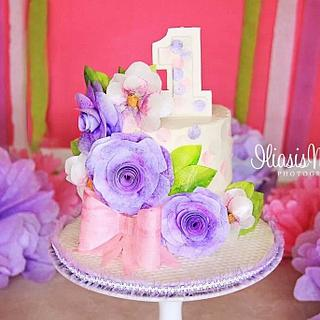 Floral Wafer Paper Smash Cake - Cake by The Painted Box