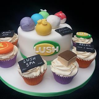 Lush handmade cosmetic themed cake and cupcakes - Cake by Mrsmurraycakes