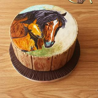 Hand painted horse cake
