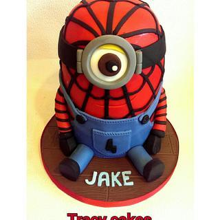Spiderman minion cake - Cake by Tracycakescreations