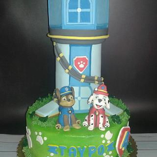 paw patrol dogs tower cake