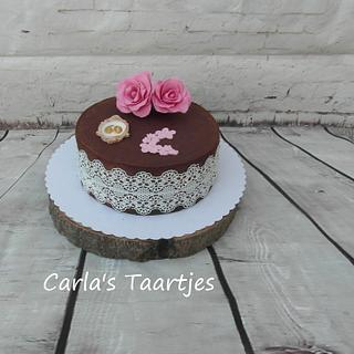 ganache cake with edible lace