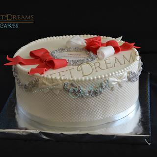 Anniversary  pearl and silver cake.