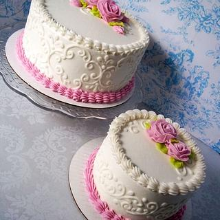 dusty pink rose cakes