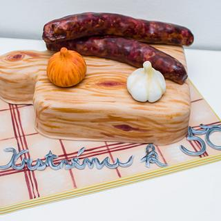 Sausages on the wooden board
