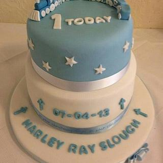 first birthday and christening cake.