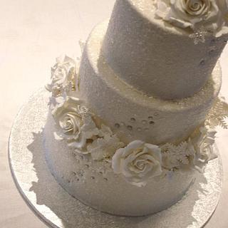White winter shimmer wedding cake