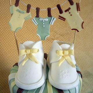 Baby Bootie Shower Cake - Cake by Andrea Bergin