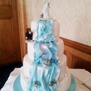 Fishing Inspired Wedding Cake