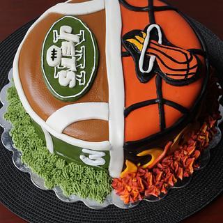 NY Jets and Miami Heat Themed Groom's Cake
