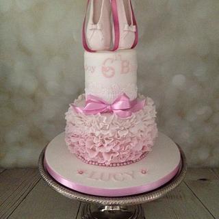 Pink ruffles ballet shoes cake  - Cake by Melanie Jane Wright