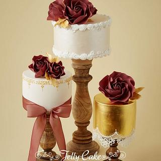 Marsala and Gold Wedding Cakes