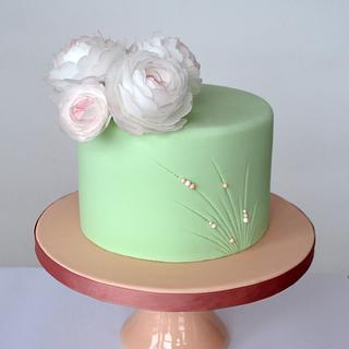 Mint green flower cake
