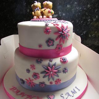 Teddy bear engagement cake