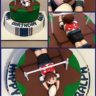 60th Birthday Rugby Theme Cake