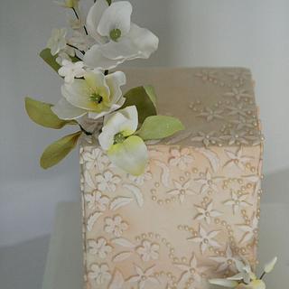 Bas relief, pearls & flowers