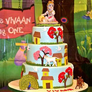 Krishna theme cake