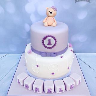 1st birthday teddy cake