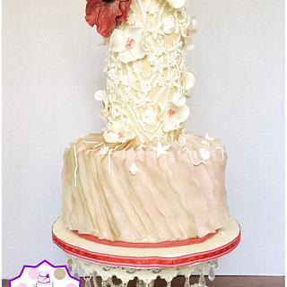 Wedding Cake  - Cake by Sabrina - White's Custom Cakes