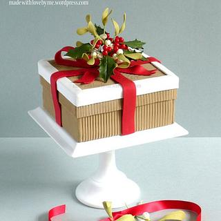 Holly and Mistletoe Christmas Box Cake
