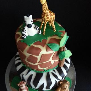 Safari themed cake and cupcakes - Cake by SweetsKeeper