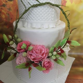 Wedding Cake with Floral hoop