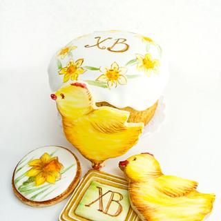 Easter chickens and daffodils