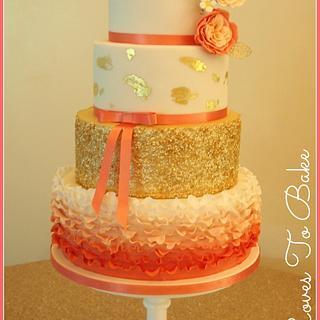 Coral Keely Wedding Cake
