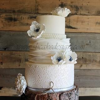 Lace and Ruffle Wedding Cake