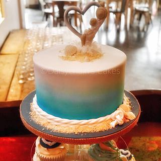 Seaside wedding cake tower