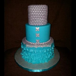 Tiffany Blue & Silver cake - Cake by First Class Cakes