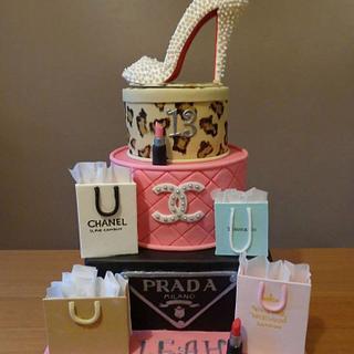 Designer Shopping inspired cake