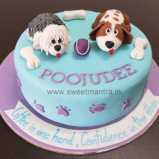 Dogs theme customised fondant cake for pet loving girl's birthday